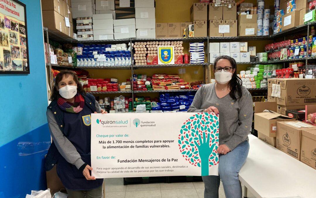 La Fundación Quirónsalud ha colaborado con la Fundación Mensajeros de la Paz cubriendo el coste de 1.700 menús
