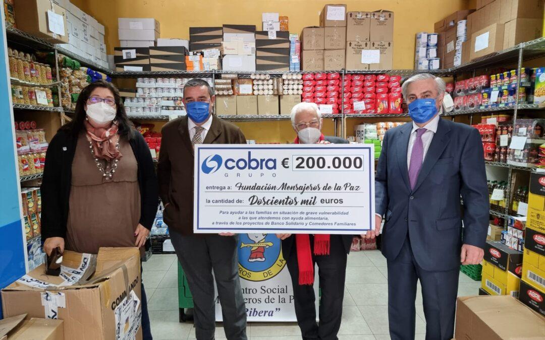 El Grupo Cobra nos hace entrega de un donativo de 200.000€ para nuestro Banco Solidario y Comedores Familiares